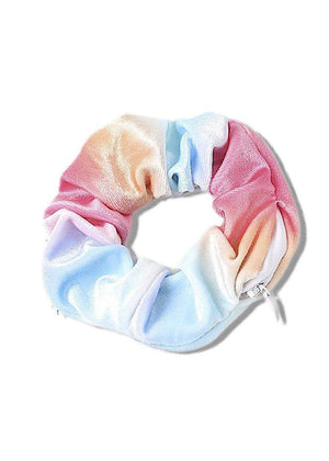 Blue and Pink Tie Dye Scrunchie with secret pocket