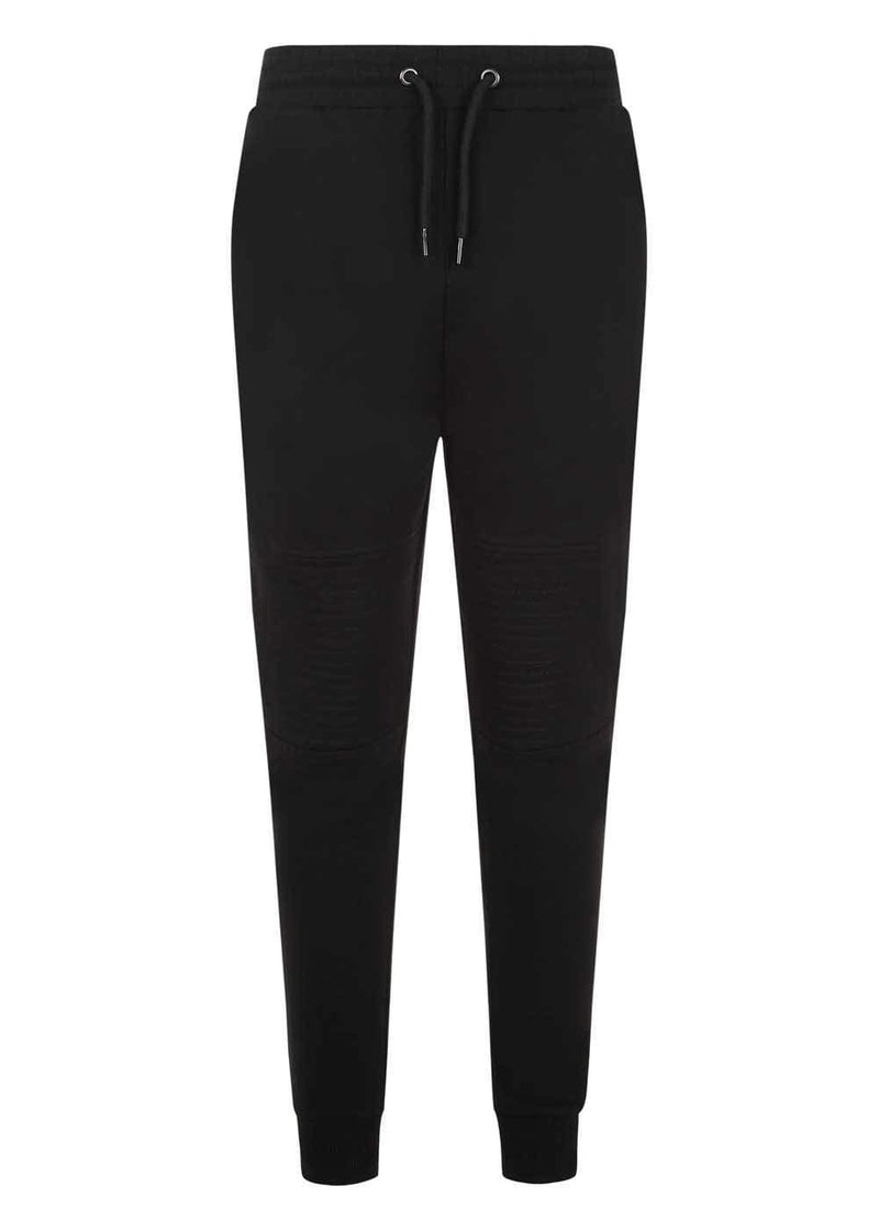Boys Black Biker Sweatpants
