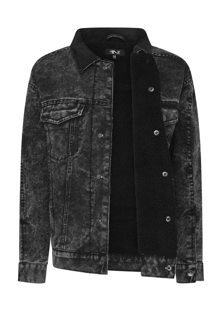 Boys Black Denim Winter Trucker Jacket-TeenzShop