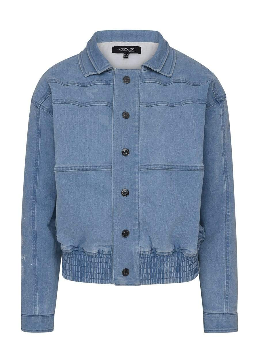 Teenzshop  Boys Denim 80's Elasticated Bomber Jacket