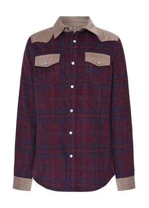 TeenzShop  Girls Plaid and Tan Cowboy Shirt- SUSTAINABLE FABRIC