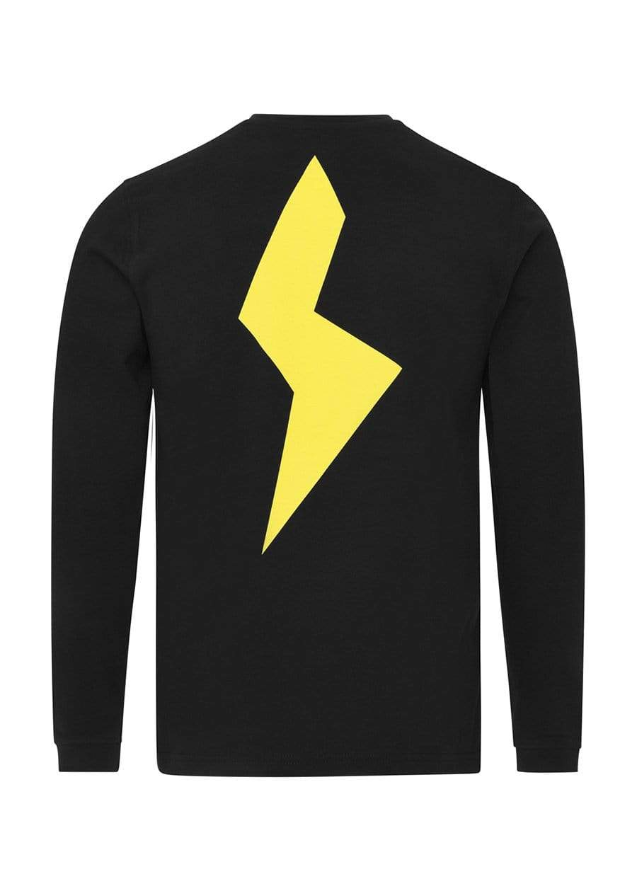 Girls Black Long Sleeve Yellow Thunderbolt T-Shirt-TeenzShop