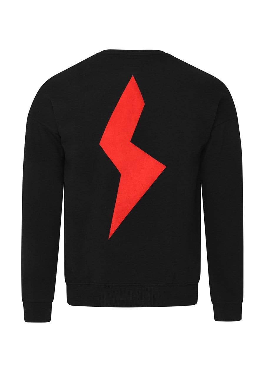 Girls Black & Red Thunderbolt Sweatshirt-TeenzShop