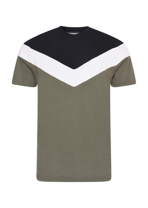Boys Green Short Sleeve Diagonal Print T-Shirt-TeenzShop
