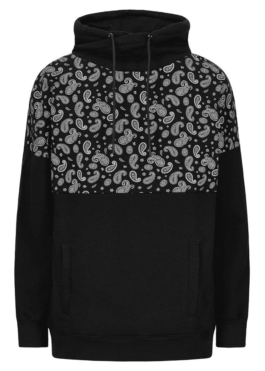 Girls Black Funnel Neck Paisley Print Oversized Sweatshirt-TeenzShop