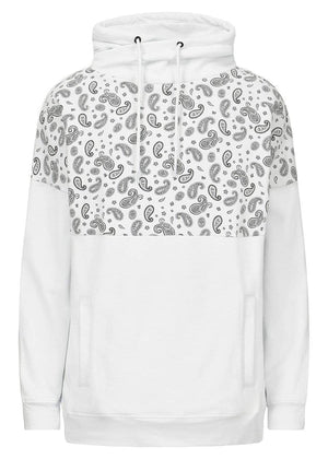 TeenzShop  Girls White Funnel Neck Paisley Print Oversized Sweatshirt