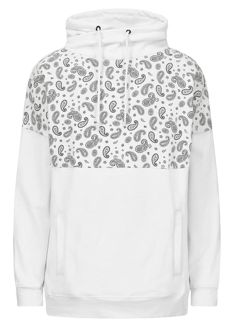 Girls White Funnel Neck Paisley Print Oversized Sweatshirt-TeenzShop