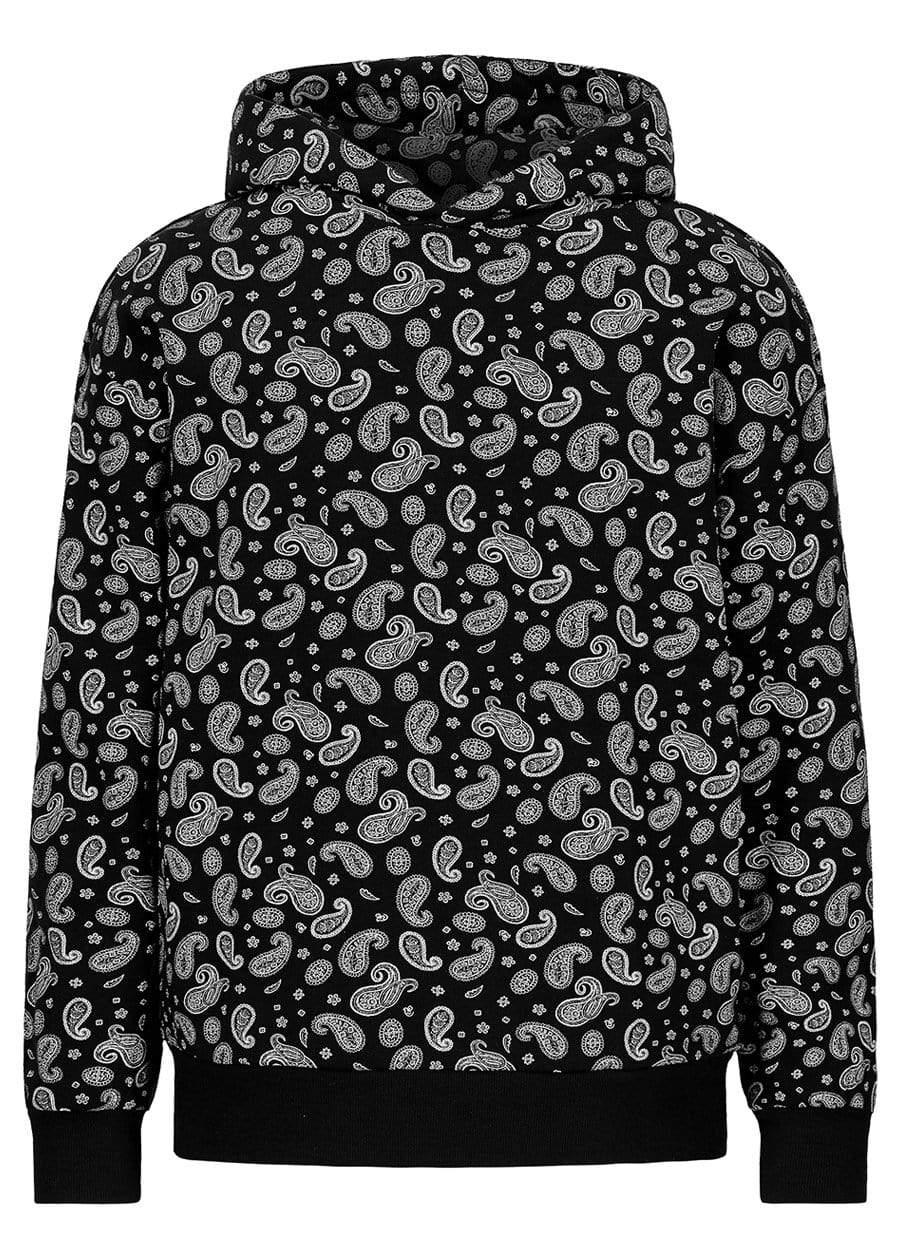 Girls Black Paisley Print Oversized Hoodie-TeenzShop