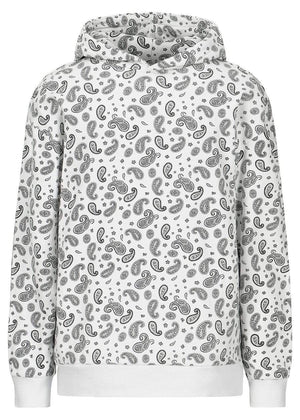 TeenzShop  Girls White Soft Cotton Paisley Print Oversized Hoodie