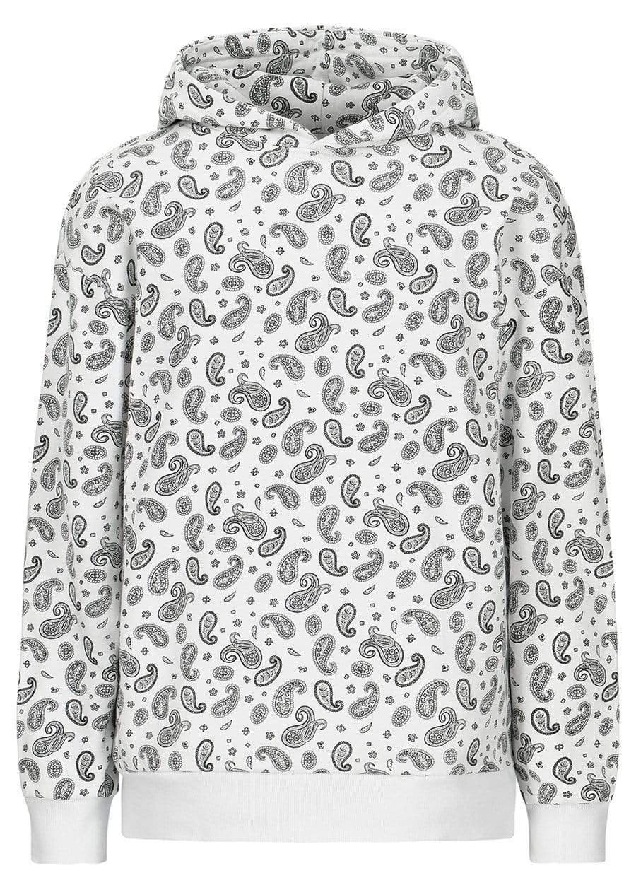 Girls White Soft Cotton Paisley Print Oversized Hoodie-TeenzShop