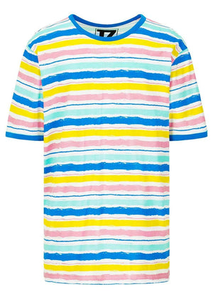 TeenzShop  Girls Short Sleeve Multi Colour Striped T-Shirt - SUSTAINABLE FABRIC