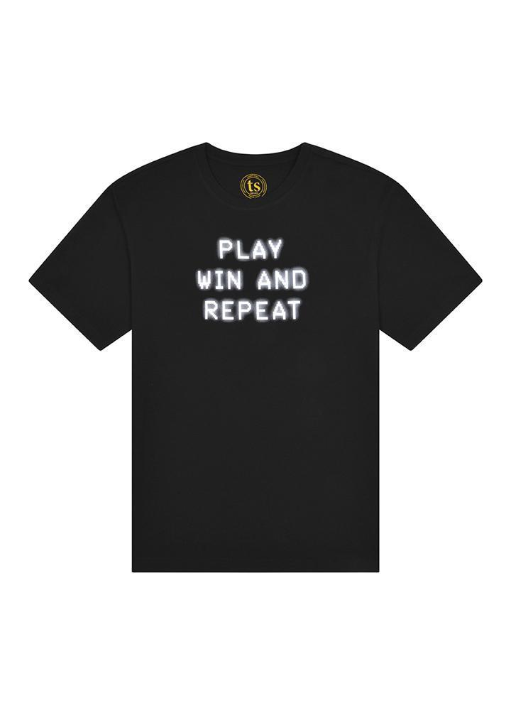 Boys Black Play Win & Repeat T-shirt-TeenzShop