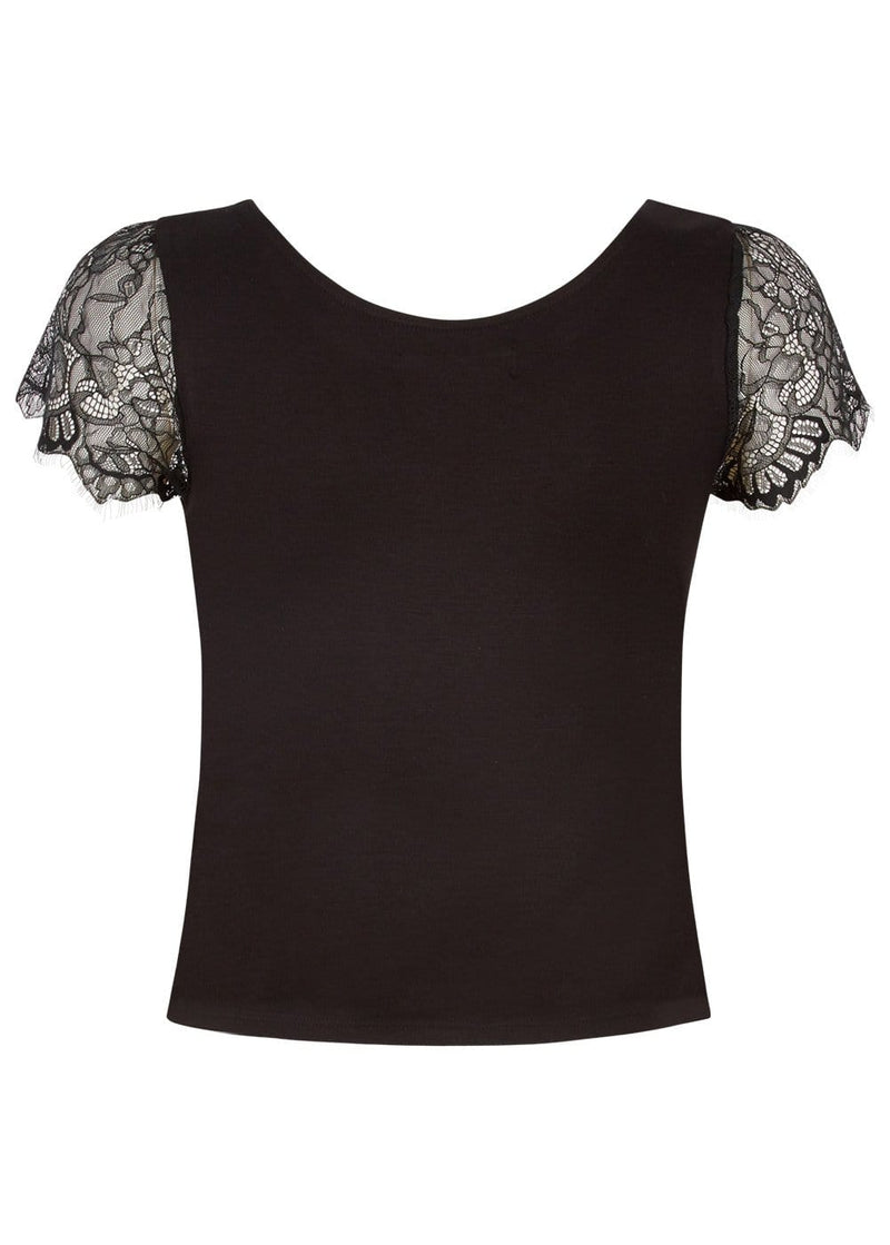Girls Black T-shirt With Lace Cap Sleeves-TeenzShop