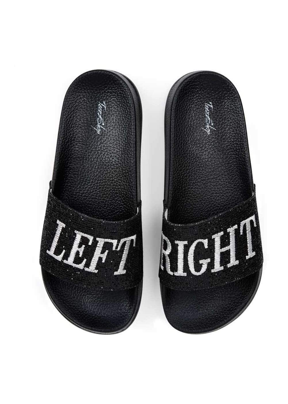 Girls Left Right Glitter Pool Sliders-TeenzShop