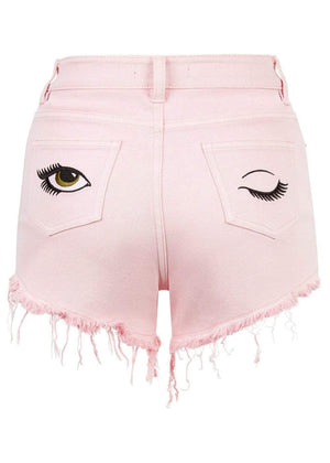 TeenzShop  Girls Pink Stretch Denim Shorts With Embroidered Eyes