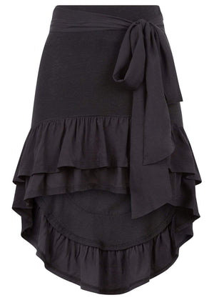 Girls Black Ra-Ra Frilled Asymmetric Beach Skirt-TeenzShop