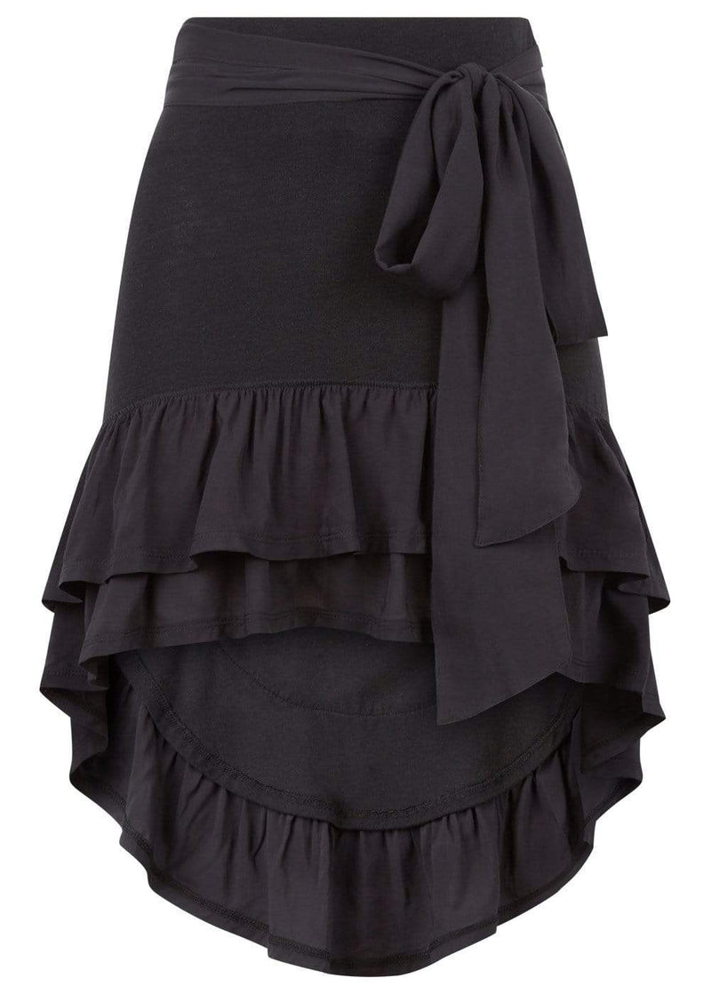 Girls Black Ra-Ra Frilled Asymmetric Beach Skirt