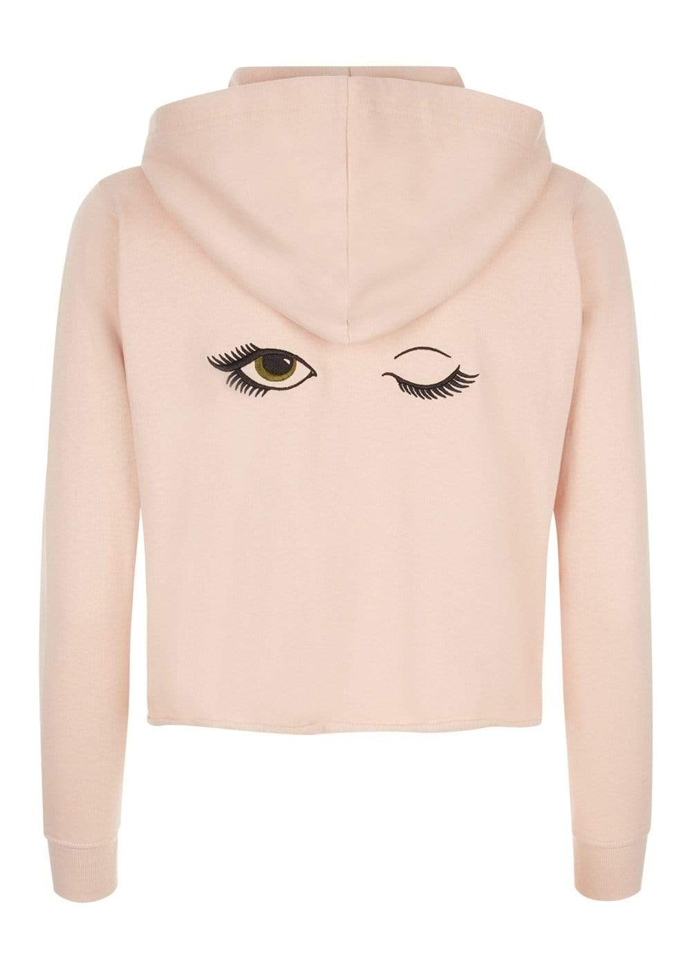 Teenzshop  Girls Pink Cropped Zip-up Hoodie With Wink Eyes Back
