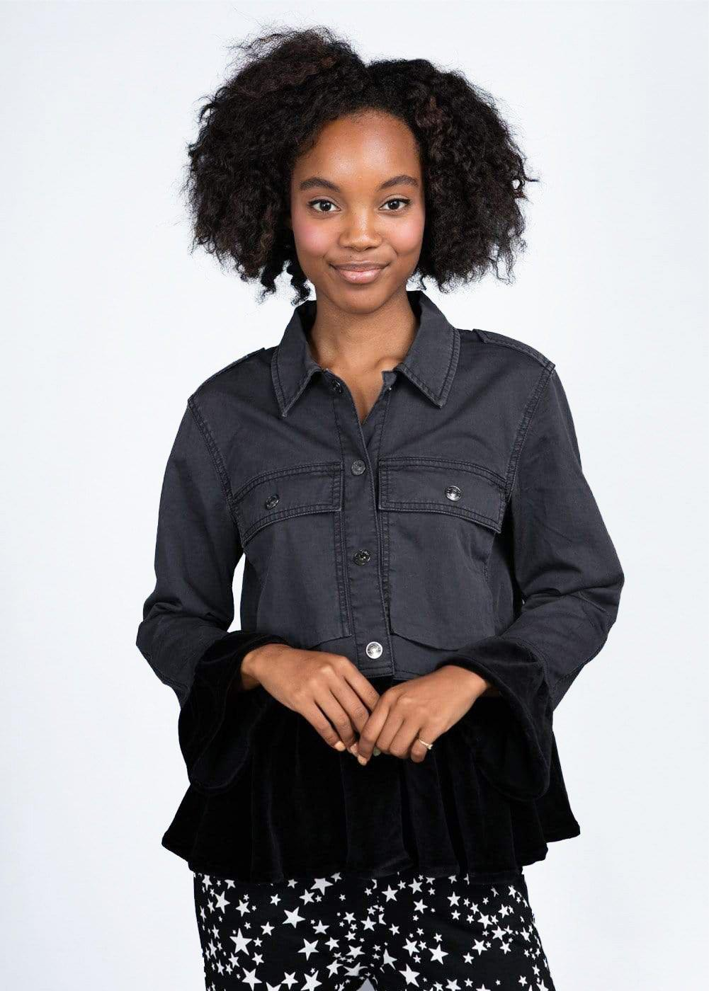 Girls Twill and Velvet Jacket with Frills-TeenzShop
