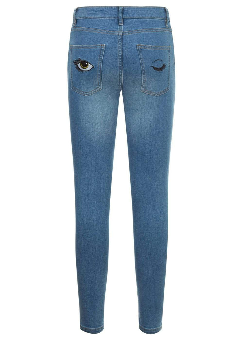 Teenzshop  Girls Blue Skinny Jeans with Embroidered Eyes Pockets