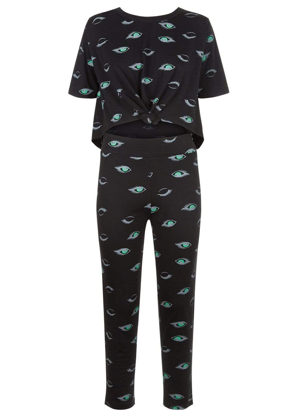 Teenzshop  Girls Black Teenzshop Eyes Print Pyjama Set