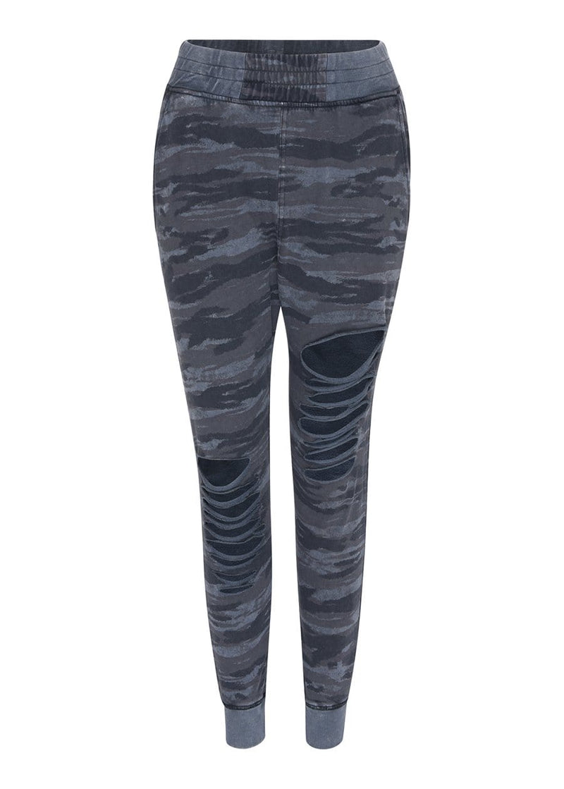 TeenzShop  Girls Camo Basic Ripped Joggers