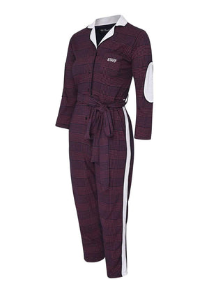 TeenzShop  Girls Burgundy Checker Boilersuit With Contrast Stripe