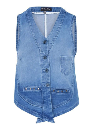 TeenzShop  Girls Denim Gilet With Studs