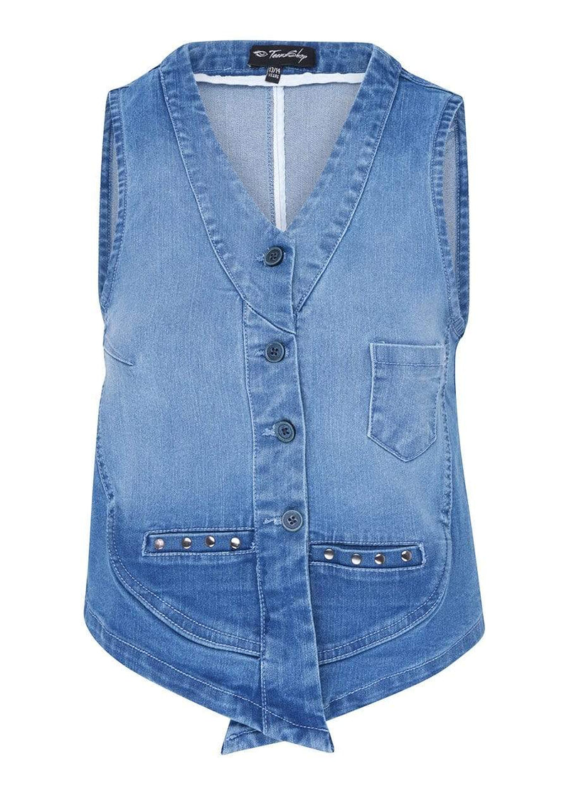 Girls Denim Gilet With Studs