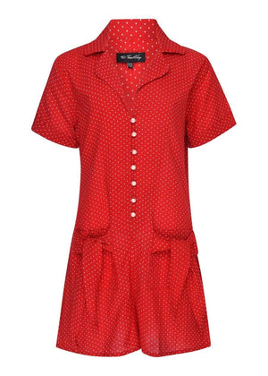 TeenzShop  Girls Red Polka Playsuit-SUSTAINABLE FABRIC