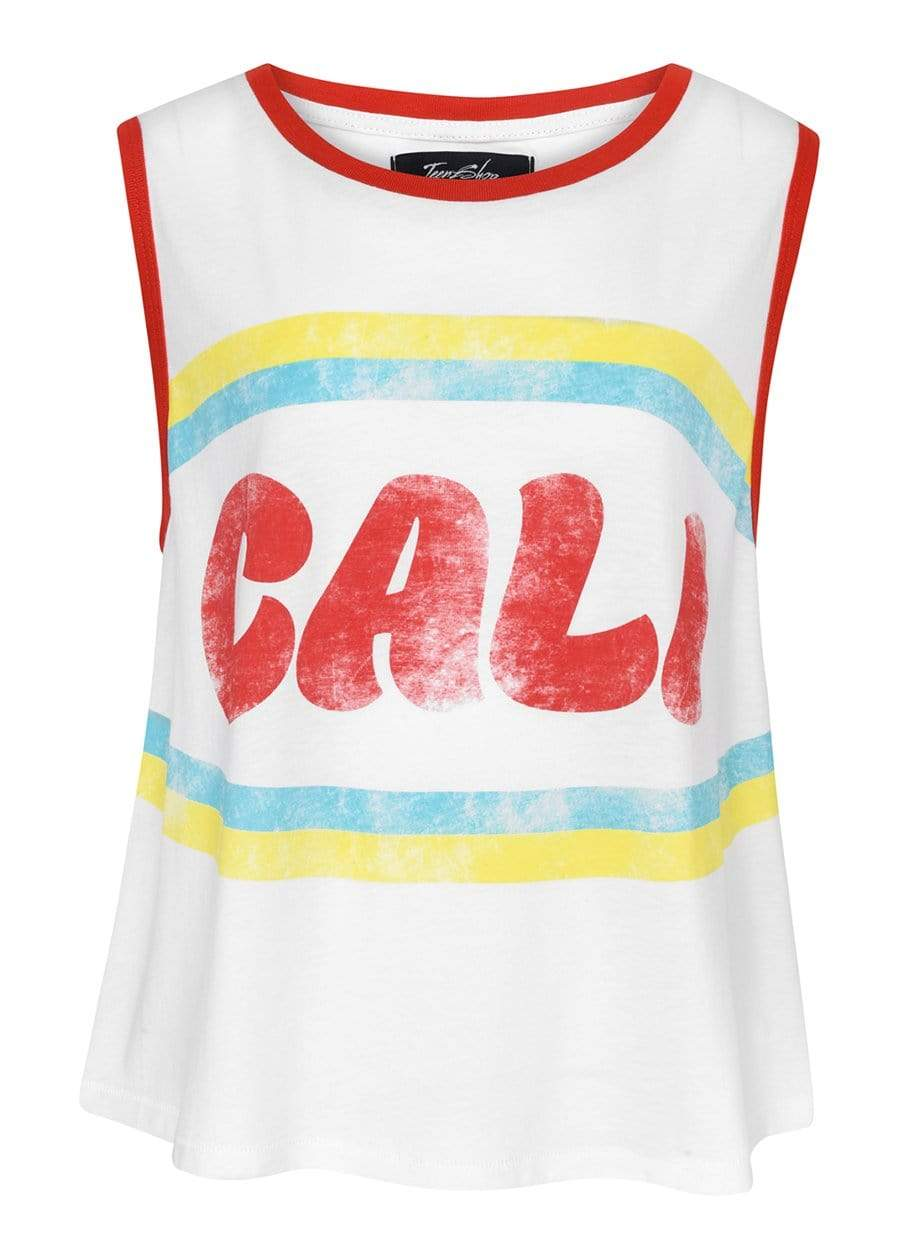 TeenzShop  Girls White Cali Tank Top