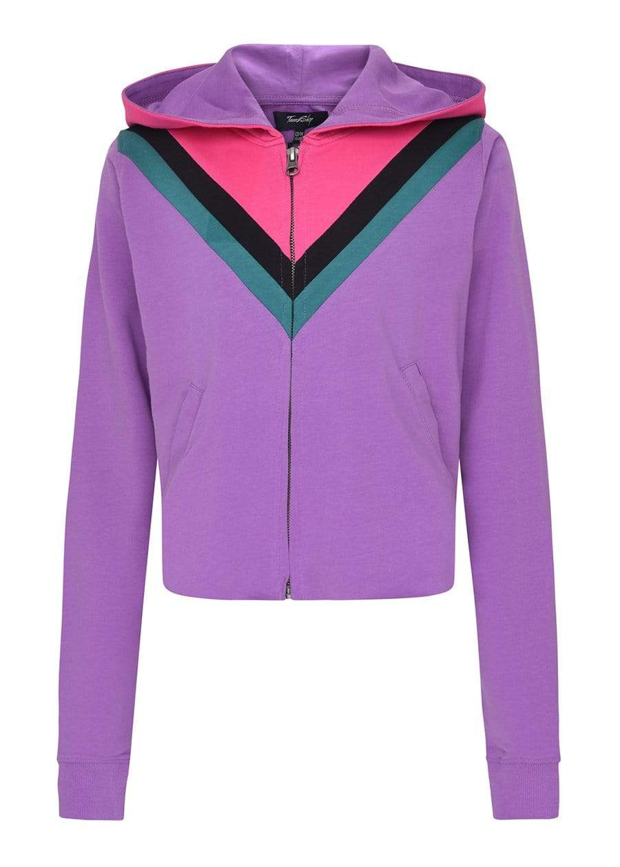 TeenzShop Girls Retro Purple Cropped Hoodie with Eyes Embroidery