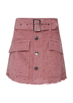 Girls Pink Belted Button Down Mini Skirt-TeenzShop