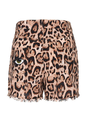 Girls Leopard Print Summer Shorts-TeenzShop