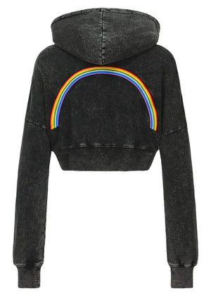 TeenzShop Girls Black Cropped Rainbow Hoodie