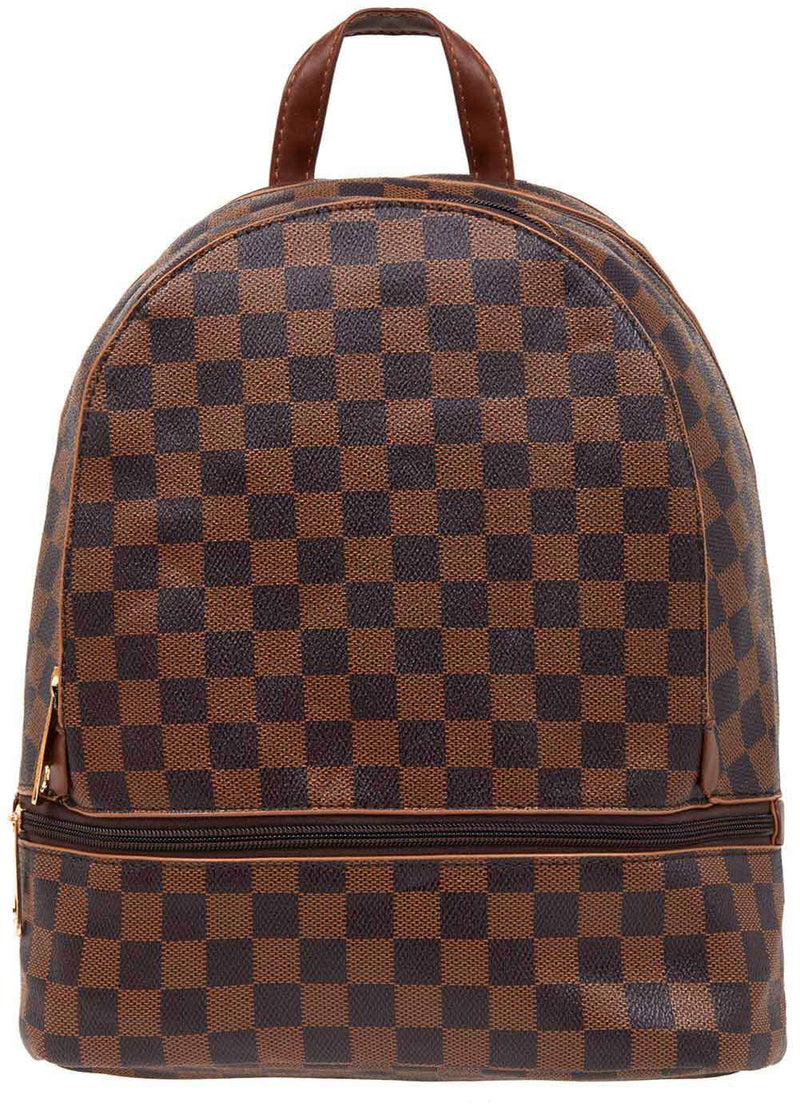 TeenzShop Brown Small Checker Backpack