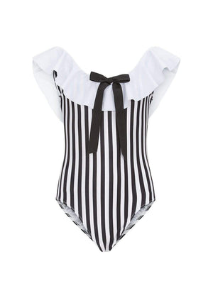 Girls Striped Off-The-Shoulder Swimsuit-TeenzShop