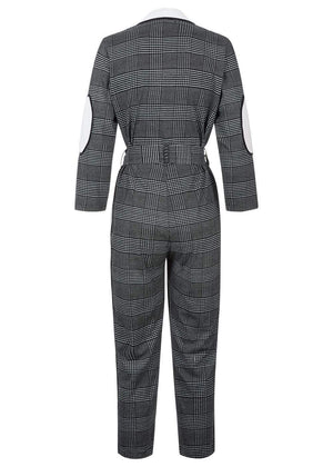 TeenzShop Girls Black & White Checker Boilersuit With Contrast Stripe