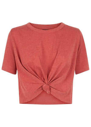 TeenzShop  Girls Red Cropped T-shirt With Front Knot