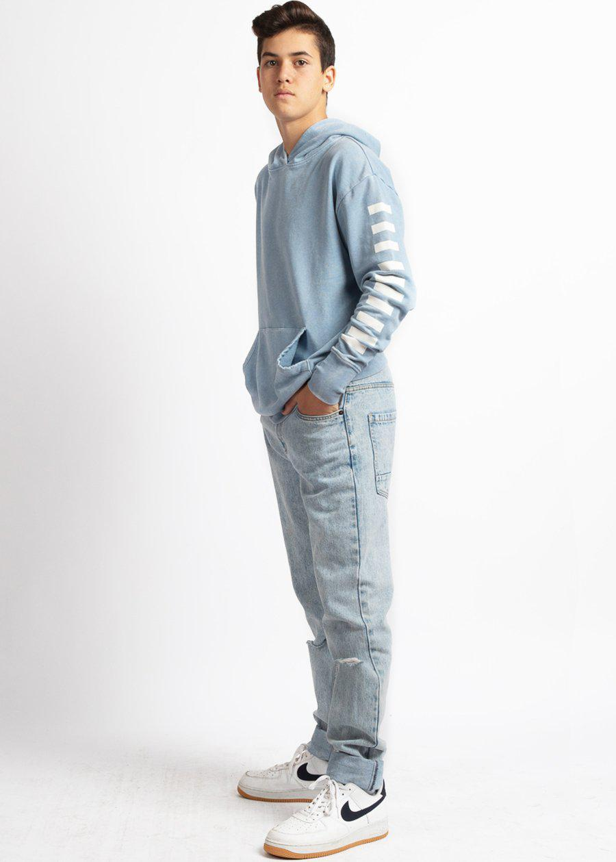 Boys Blue Distressed Graphic Hoodie-TeenzShop
