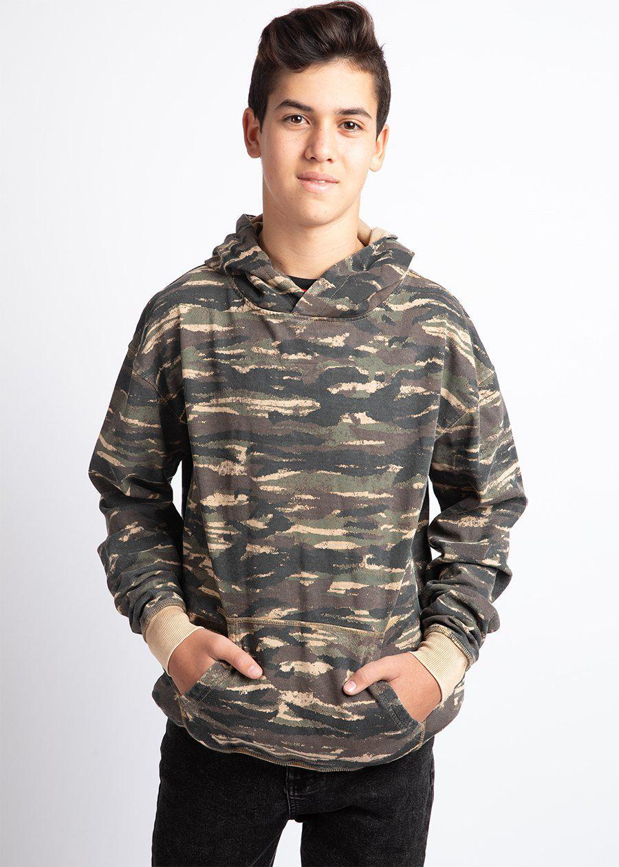 Boys Brown Distressed Camo Hoodie-TeenzShop