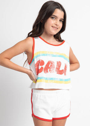 Girls White Cali Tank Top