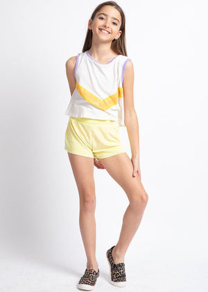 Girls Yellow Terry Shorts