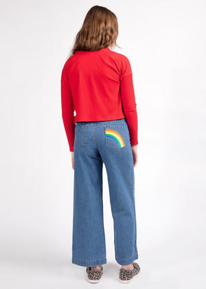 Girls Light Blue Wide Leg Rainbow Jeans-TeenzShop