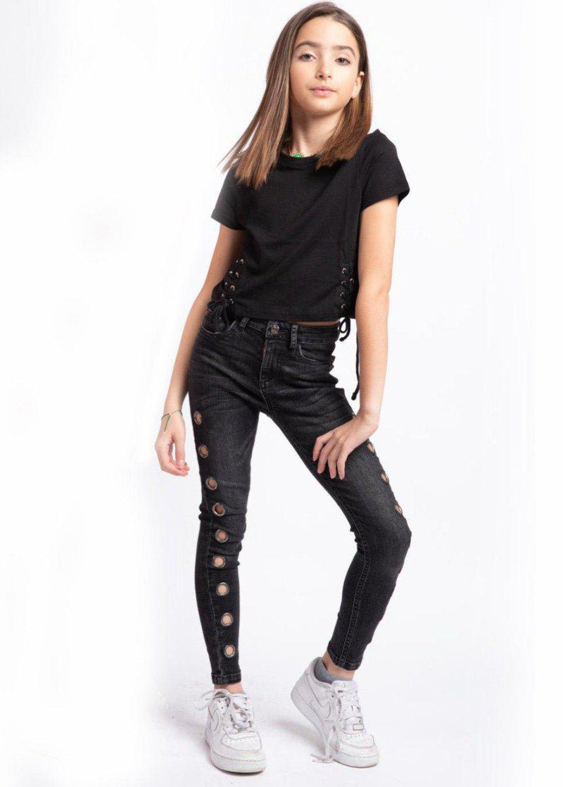 Girls Black Skinny Jeans with Side Eyelets