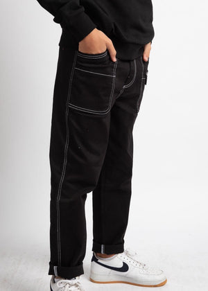 Boys Black Contrast Stitch Skater Trouser-TeenzShop