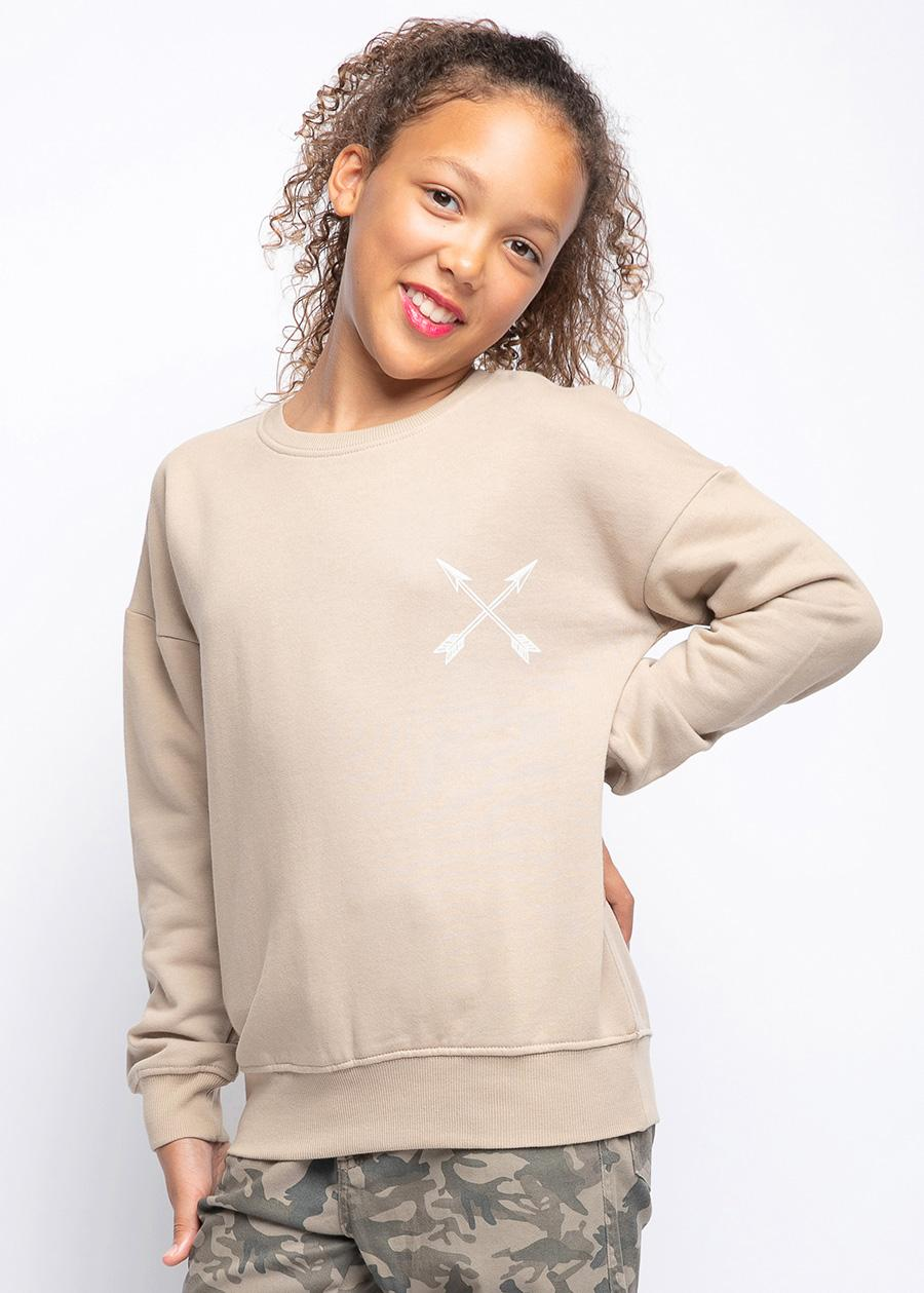 Girls Taupe Chieftain SweatShirt-TeenzShop