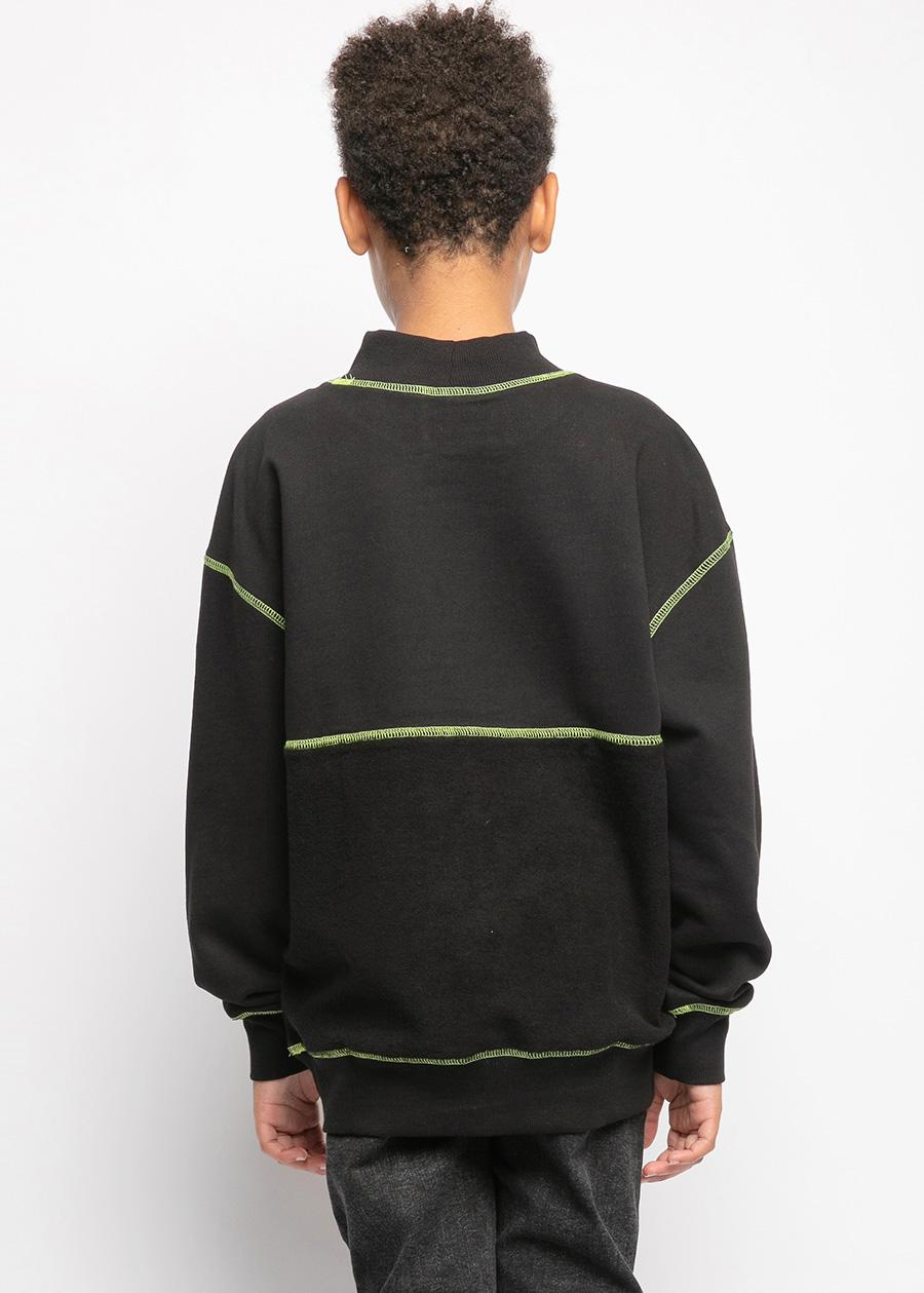 Boys Neon Stitch Black Fleece Sweatshirt