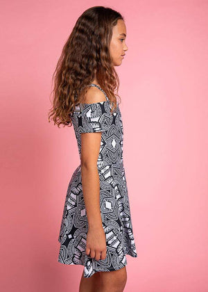 TeenzShop Girls Geometric Print Cold Shoulder Cotton Skater Dress - SUSTAINABLE FABRIC