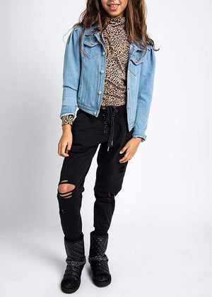 Teenzshop Girls Lace-Up Front, Ripped Joggers